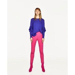 NWOT Zara Royal Blue Flowing Ruffle Sleeve Top